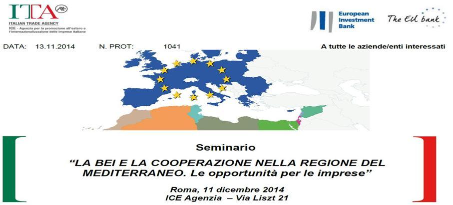 Seminario Roma 11 Dicembre 2014 BEI cooperazione regione mediterraneo
