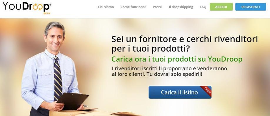 dropshipping il fornitore carica i prodotti nell'e-commerce e i listini sono aggiornati