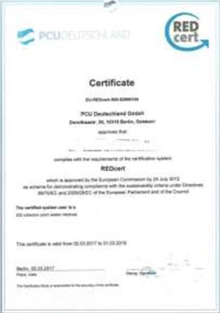 oil - Red Cert agricultural and biofuel Certification