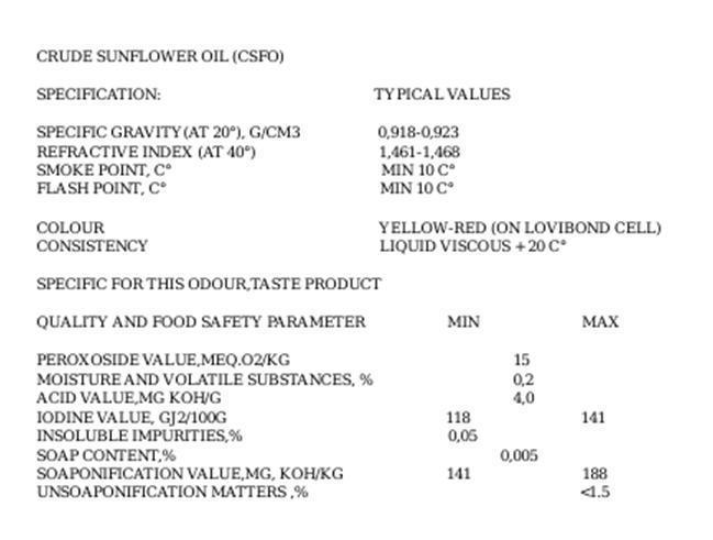 oil - crude sunflower oil CSFO data sheet