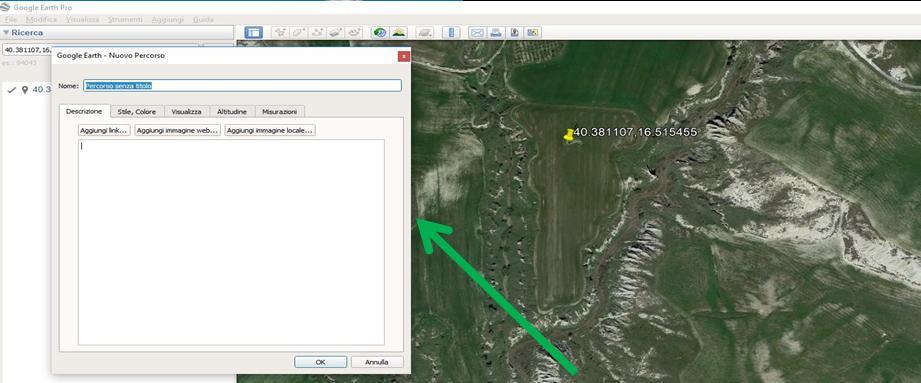 Google Earth finestra prima tracciare perimetro