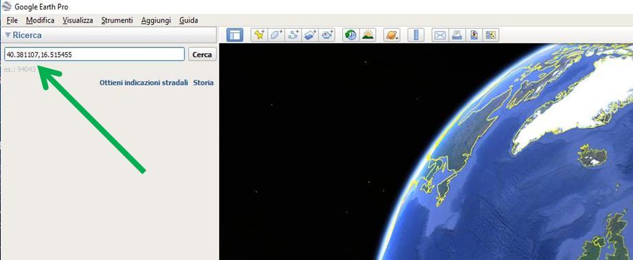 Google Earth inserire le coordinate google