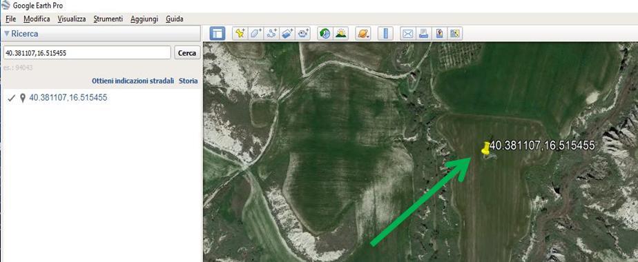 Google Earth puntatore giallo sito