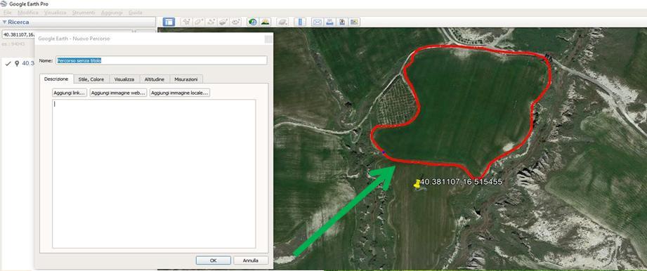 Google Earth tracciato perimetro in rosso