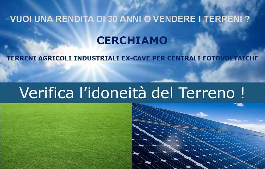 Terreni, fotovoltaico, terreni agricoli, terreni industriali, ex cave